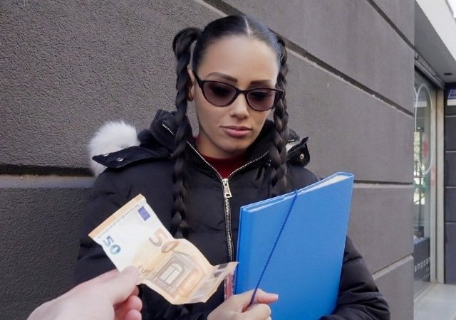 Euro Chick Flashes Ass For Cash (eveline Dellai) Video-05